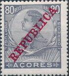 Azores 1911 D. Manuel II Overprinted REPUBLICA i