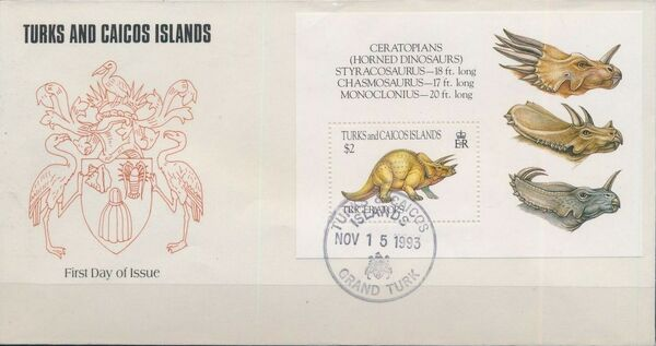 Turks and Caicos Islands 1993 Prehistoric Animals FDCc