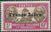 "New Caledonia 1941 Definitives of 1928 Overprinted in black ""France Libre"" zf"