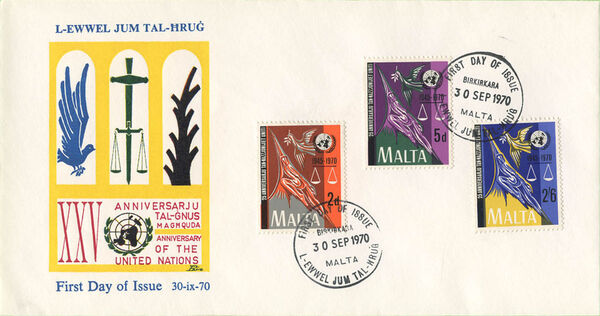 Malta 1970 25th Anniversary of the United Nations FDCb