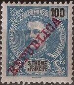 St Thomas and Prince 1911 D. Carlos I Overprinted i