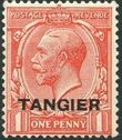 British Offices in Tangier 1927 King George V Overprinted (hatched background) b