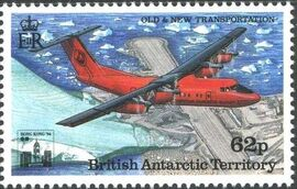 British Antarctic Territory 1994 Old and New Transportation Ovpt. Hong Kong '94 Emblem e