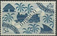 French Somali Coast 1943 Locomotive and Palms a