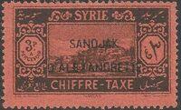 """Alexandretta 1938 Postage Due Stamps of Syria (1925-1931) Overprinted """"SANDJAK D'ALEXANDRETTE"""" in Red or Black d"""