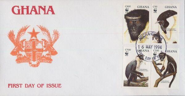 Ghana 1994 WWF - Diana Monkeys FDCa