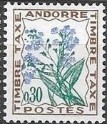 Andorra-French 1964 Flowers - 1st Group (Postage Due Stamps) b