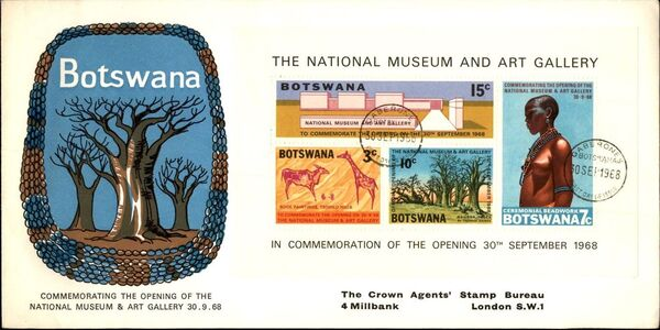 Botswana 1968 Opening of the National Museum and Art Gallery FDCa