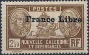 "New Caledonia 1941 Definitives of 1928 Overprinted in black ""France Libre"" ze"