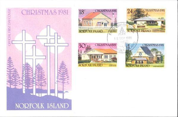 Norfolk Island 1981 Christmas (Churches) FDCa