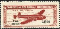 """Mozambique 1947 Airplane over Mountainous Region with """"Taxe Perçue"""" e"""
