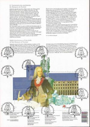 Portugal 1999 300th Anniversary of the Marquis de Pombal n