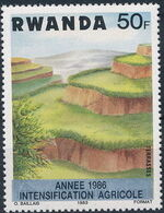 Rwanda 1986 Soil Erosion Prevention (Surcharged and Overprinted) g
