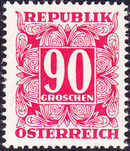 Austria 1950 Postage Due Stamps - Square frame with digit (2nd Group) b