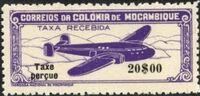 "Mozambique 1947 Airplane over Mountainous Region with ""Taxe Perçue"" g"