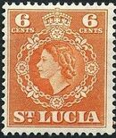St Lucia 1953 Queen Elizabeth II and Arms of St Lucia f