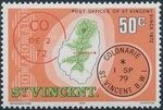 St Vincent 1979 Cancellations and Location of Village n
