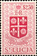 St Lucia 1953 Queen Elizabeth II and Arms of St Lucia m