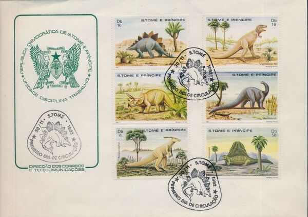 St Thomas and Prince 1982 Dinosaurs FDCa