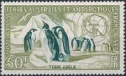French Southern and Antarctic Territories 1956 Emperor Penguins and Map of Antarctica a