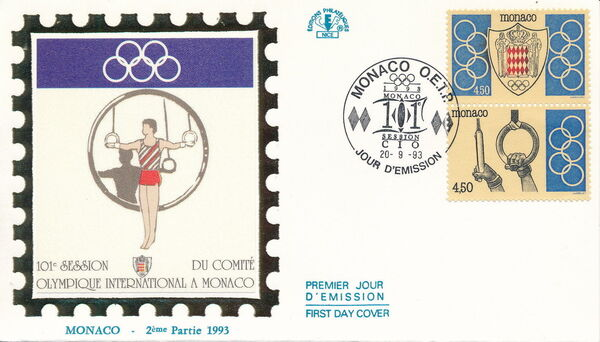 Monaco 1993 101st Session International Olympic Committee FDCe
