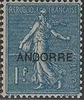 "Andorra-French 1931 Type ""Semeuse"" of France Overprinted ""ANDORRE"" k"