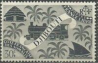 French Somali Coast 1943 Locomotive and Palms d