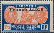 "New Caledonia 1941 Definitives of 1928 Overprinted in black ""France Libre"" zb"