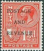 Malta 1928 George V and Coat of Arms Ovpt POSTAGE AND REVENUE f