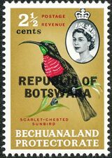Botswana 1966 Overprint REPUBLIC OF BOTSWANA on Bechuanaland 1961 c