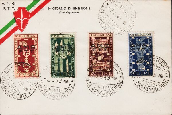 Trieste-Zone A 1949 Biennial Art Exhibition of Venice FDCb