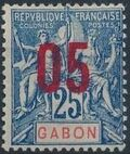 Gabon 1912 Navigation and Commerce Surcharged e