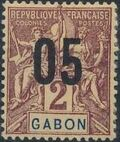 Gabon 1912 Navigation and Commerce Surcharged a