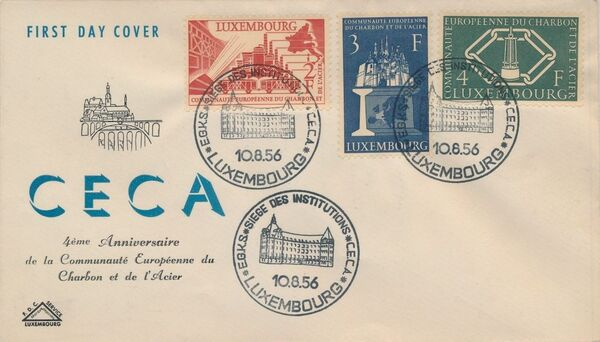 Luxembourg 1956 4th Anniversary of the Establishment in Luxembourg of the Headquarters of the European Coal and Steel Community FDCa