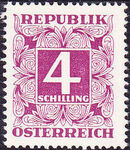 Austria 1951 Postage Due Stamps - Square frame with digit (3rd Group) f