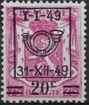Belgium 1949 Coat of Arms, Precanceled and Surcharged e