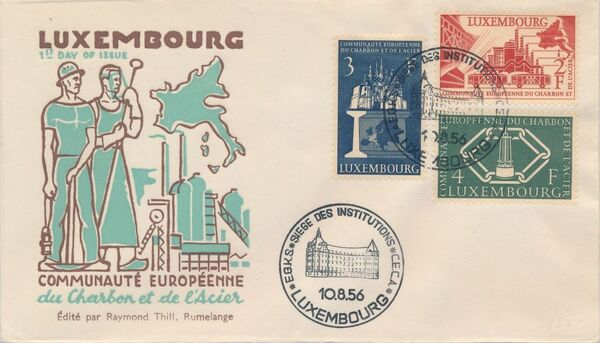 Luxembourg 1956 4th Anniversary of the Establishment in Luxembourg of the Headquarters of the European Coal and Steel Community FDCb