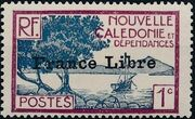 "New Caledonia 1941 Definitives of 1928 Overprinted in black ""France Libre"" a"