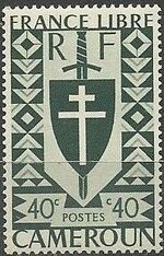 Cameroon 1941 Lorraine Cross and Joan of Arc Shield e