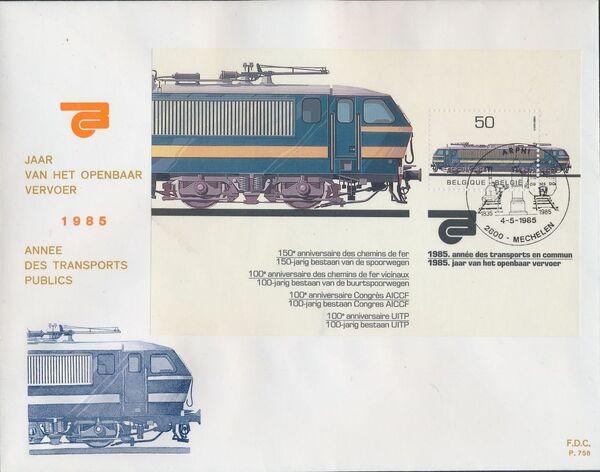 Belgium 1985 Public Transportation Year FDCc