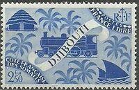 French Somali Coast 1943 Locomotive and Palms j