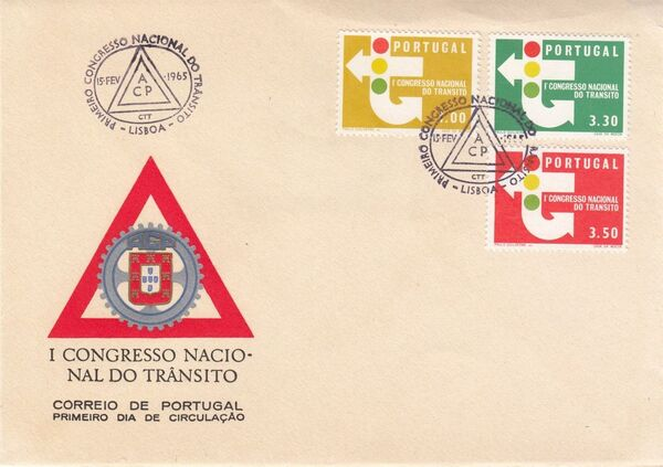 Portugal 1965 1st National Traffic Congress FDCa