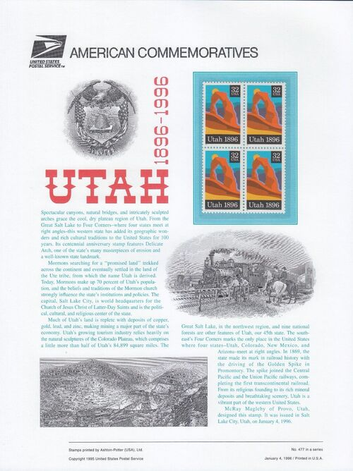 United States of America 1996 Utah Statehood Centenary aCa