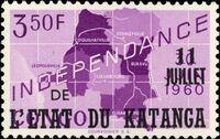 Katanga 1960 Postage Stamps from Congo Overprinted f