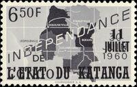 Katanga 1960 Postage Stamps from Congo Overprinted h