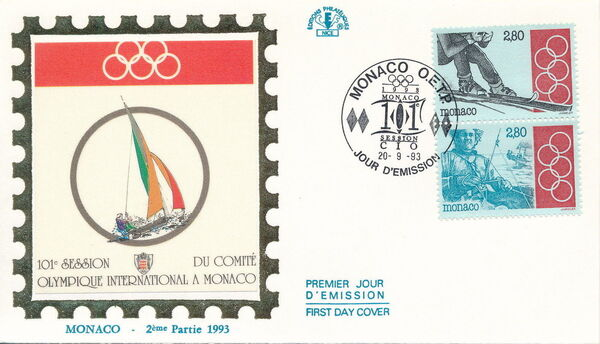 Monaco 1993 101st Session International Olympic Committee FDCb