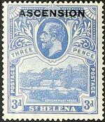 "Ascension 1922 Stamps of St. Helena Overprinted ""ASCENSION"" e"