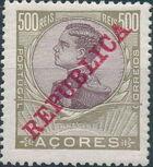 Azores 1911 D. Manuel II Overprinted REPUBLICA m