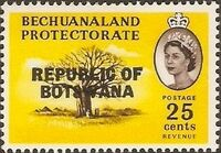 Botswana 1966 Overprint REPUBLIC OF BOTSWANA on Bechuanaland 1961 j