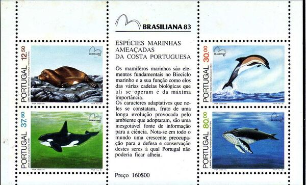 Portugal 1983 Brasiliana 83 - International Stamp Exhibition - Marine Mammals e